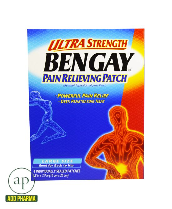 Bengay Ultra Strength Pain Relieving Patch, Large - 4 Patches