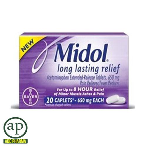 Midol Long Lasting Relief - 20 Caplets , 650mg ea.
