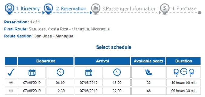 Screentshot of Tica bus booking options