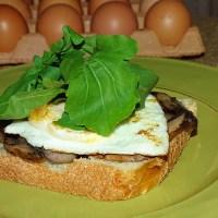 Mushrooms, fried egg and rocket on sourdough