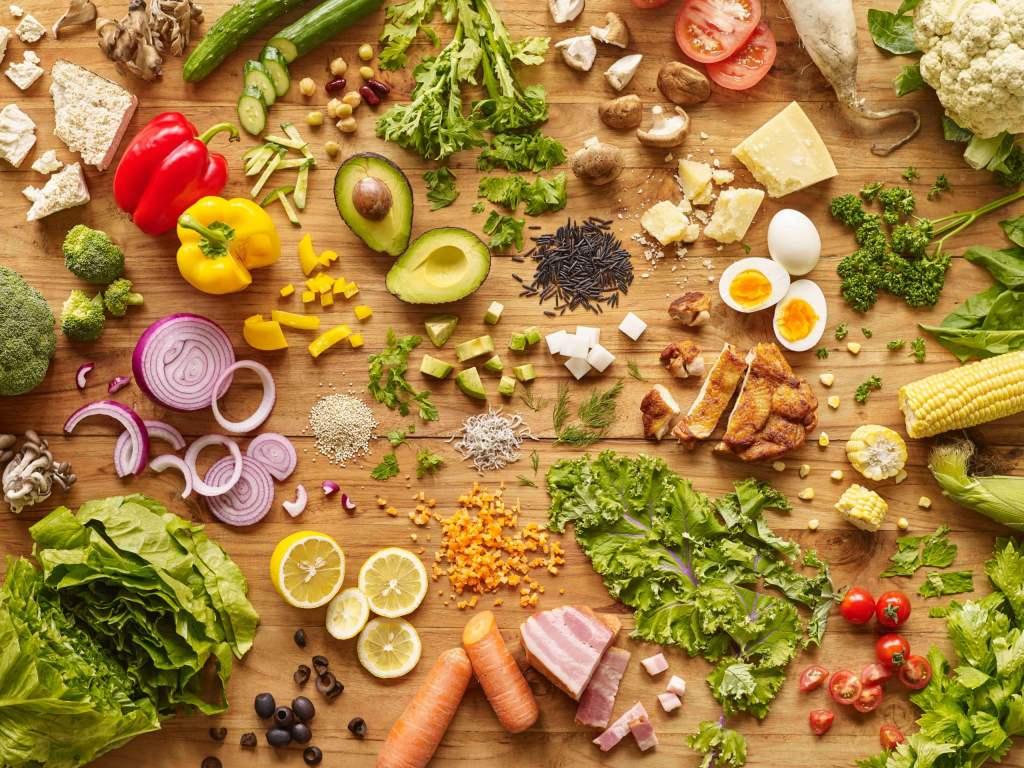 keto salad food ingredients on table