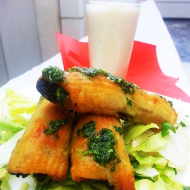 Taquitos with white chocolate horchata