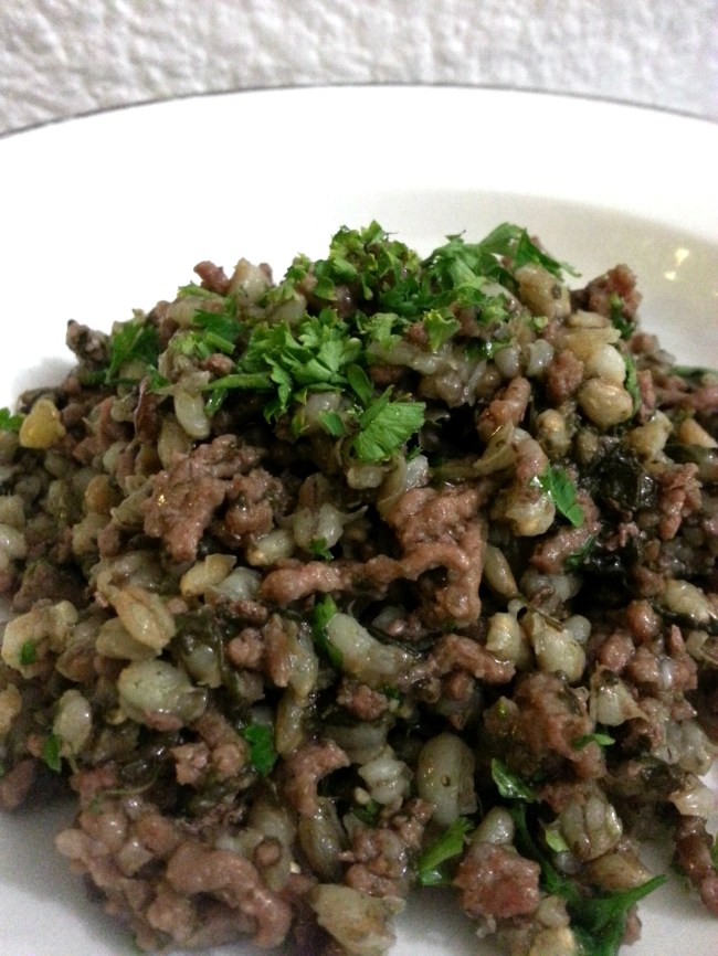 Giveaway: Pearl Barley with spinach and mince