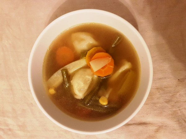 Spicy vegetable soup with dumplings
