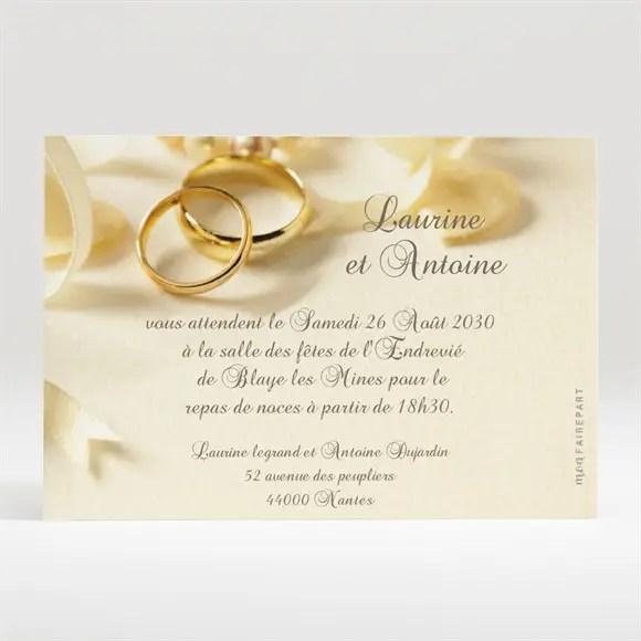 carton d invitation mariage alliances fond creme