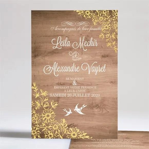 faire part mariage fond en bois
