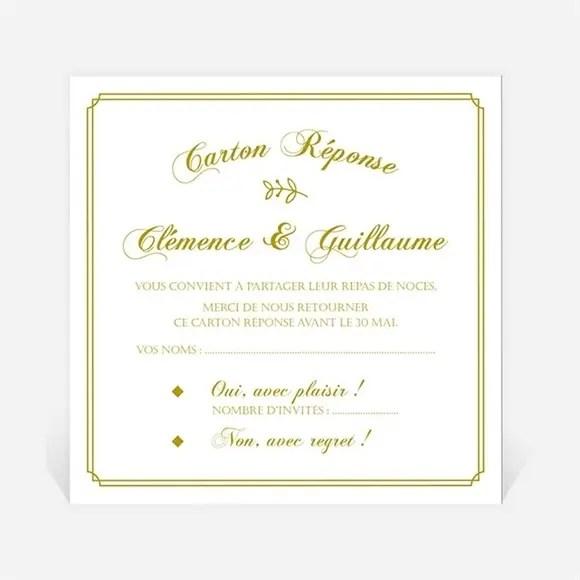 carton reponse mariage classique