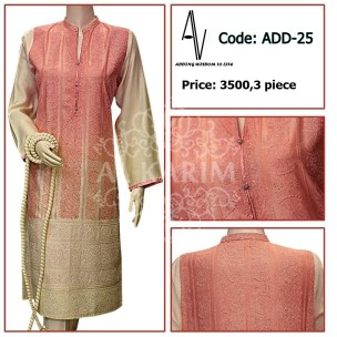 Fabric: shinny cotton net Sizes: Small - Medium - Large Details: Exclusive heavy chicken kari work style on shirt front and back , fancy buttons. Note: The Following Dress have been styled in the image for photography and illustrative purposes. The standard style comes as a long sleeved kameez and Dupatta