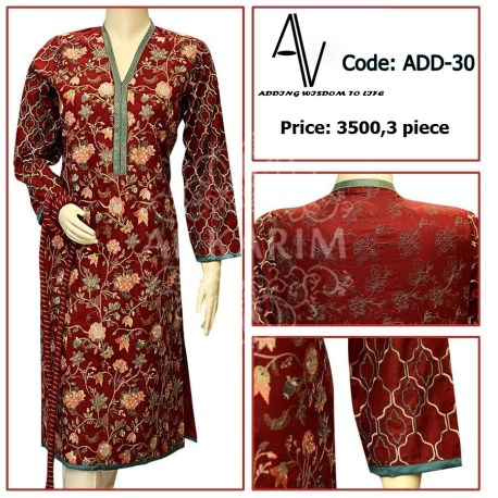 Fabric: Lawn: Small - Medium - Large Details: Exclusive colored resham embroiderey work on shirt Note: The Following Dress have been styled in the image for photography and illustrative purposes. The standard style comes as a long sleeved kameez and Dupatta