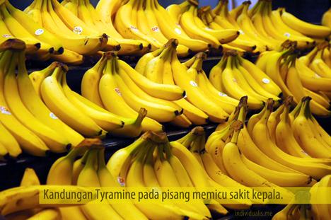 Kandungan tyramine pada pisang memiu sakit kepala