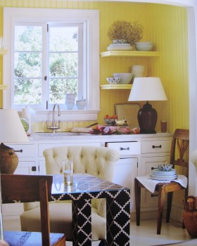 Bilhuber's cosy kitchen: is that chair really cream?