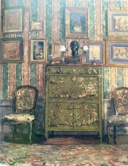 her Trianon bedroom with chic stripes and chinoiserie