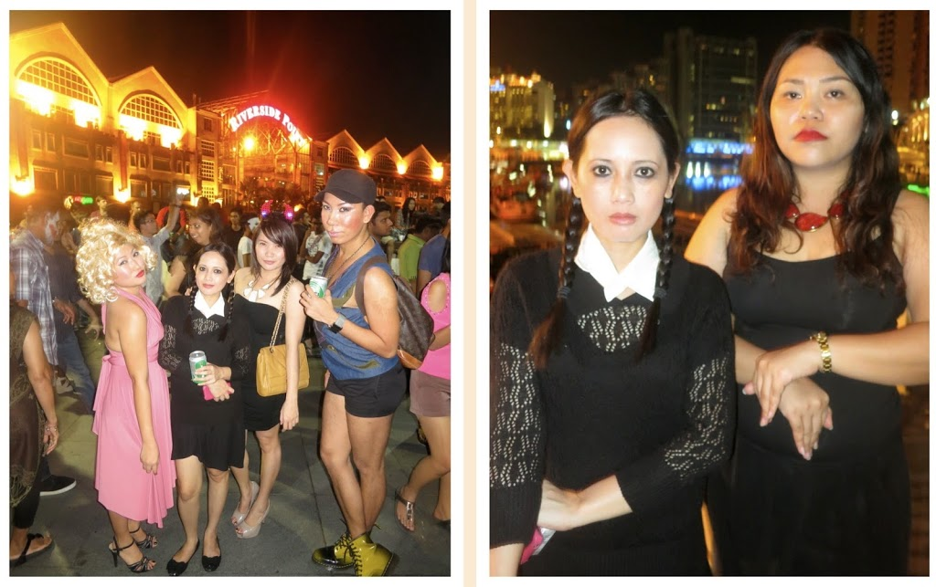 Marilyn Monroe, Wednesday Addams, a devil and Vice Ganda / Wednesday and Morticia Addams. LOL we forced me to be Morticia!