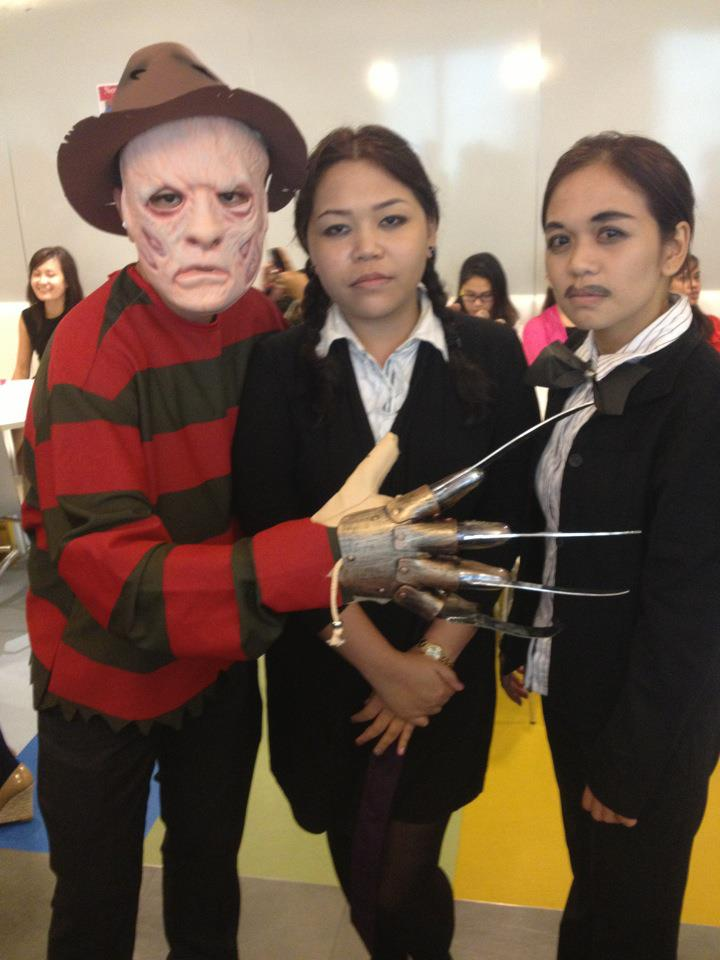 Freddy Krueger with Wednesday and Gomez