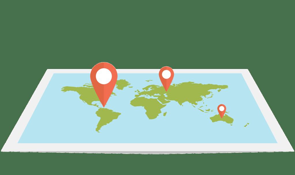Mapa de ejemplo sobre distintas ubicaciones de la operación en relación al IVA