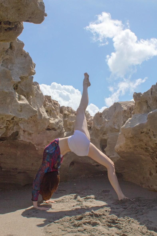 Joy Wolfe, Yoga, Prananda, One leg wheel pose, Blowing Rocks, Jupiter, FL