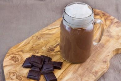 Cuban hot chocolate, coconut whipped cream, thekindercook.com