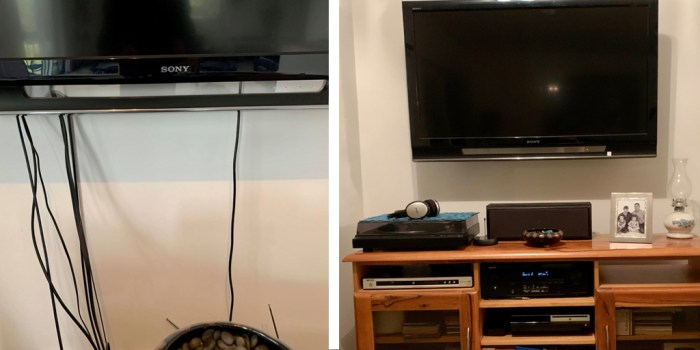 Before and after: all home theatre devices were connected with cables hidden in walls.  Gillies Plains