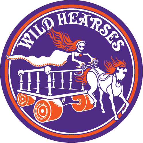 Wild Hearses logo in purple and orange of a ghost controlling a hearse cart pulled by a skeleton horse