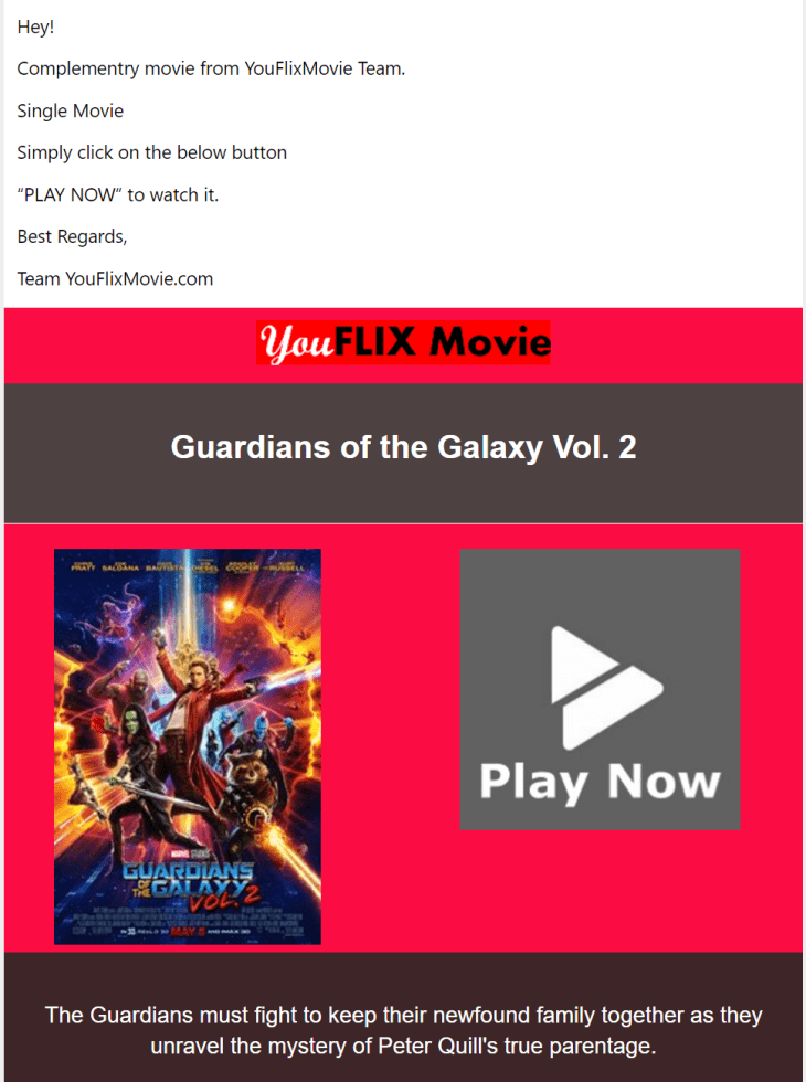 Guardians 2 fake email