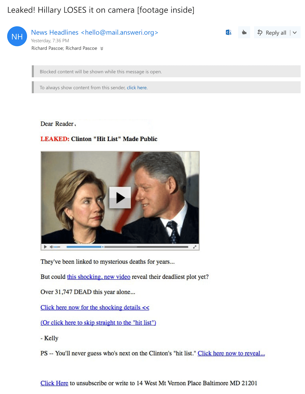 Clinton Fake Email