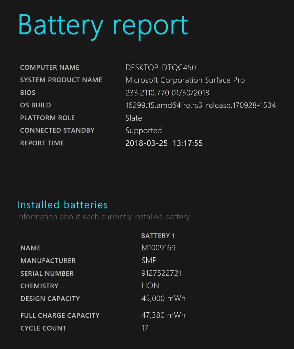 Battery Report readout - Adelaidetechguy