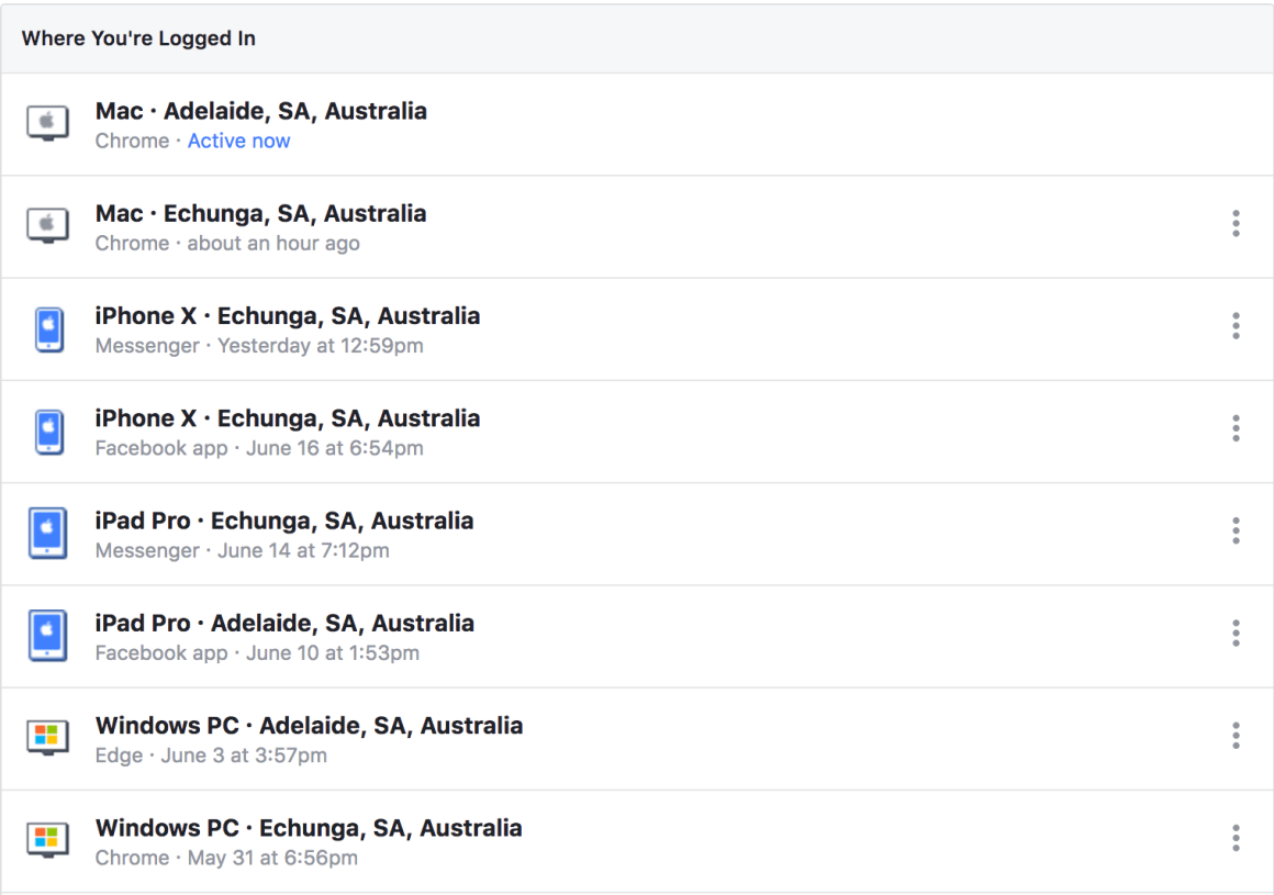 Facebook device login location - adelaide techguy