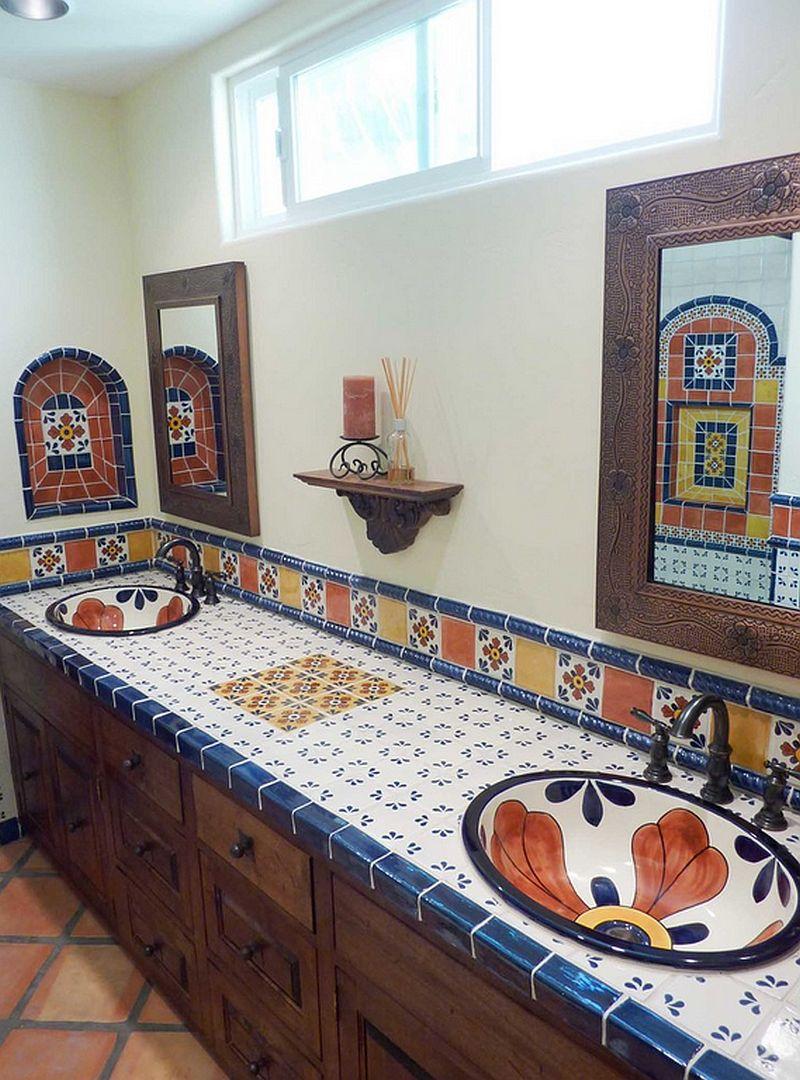 adelaparvu.com despre bai cu placi ceramice pictate, bai in stil mediteranean Kristi Black Designs