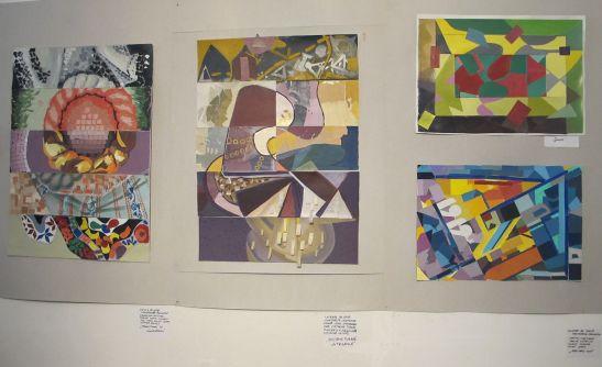 Colaje de grup din expozitia Perceptia cromatica in teorie si practica Galeria UNArte