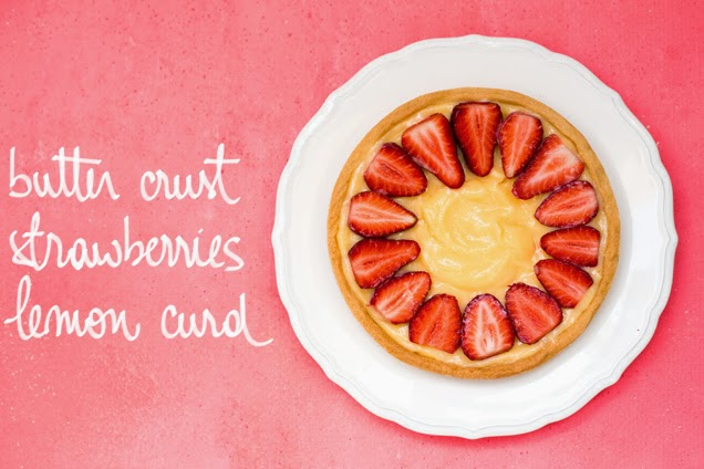 Strawberry and lemon curd tart