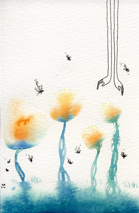bug hands water colour painting
