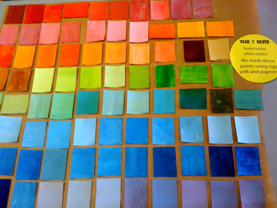 tempera paint swatches