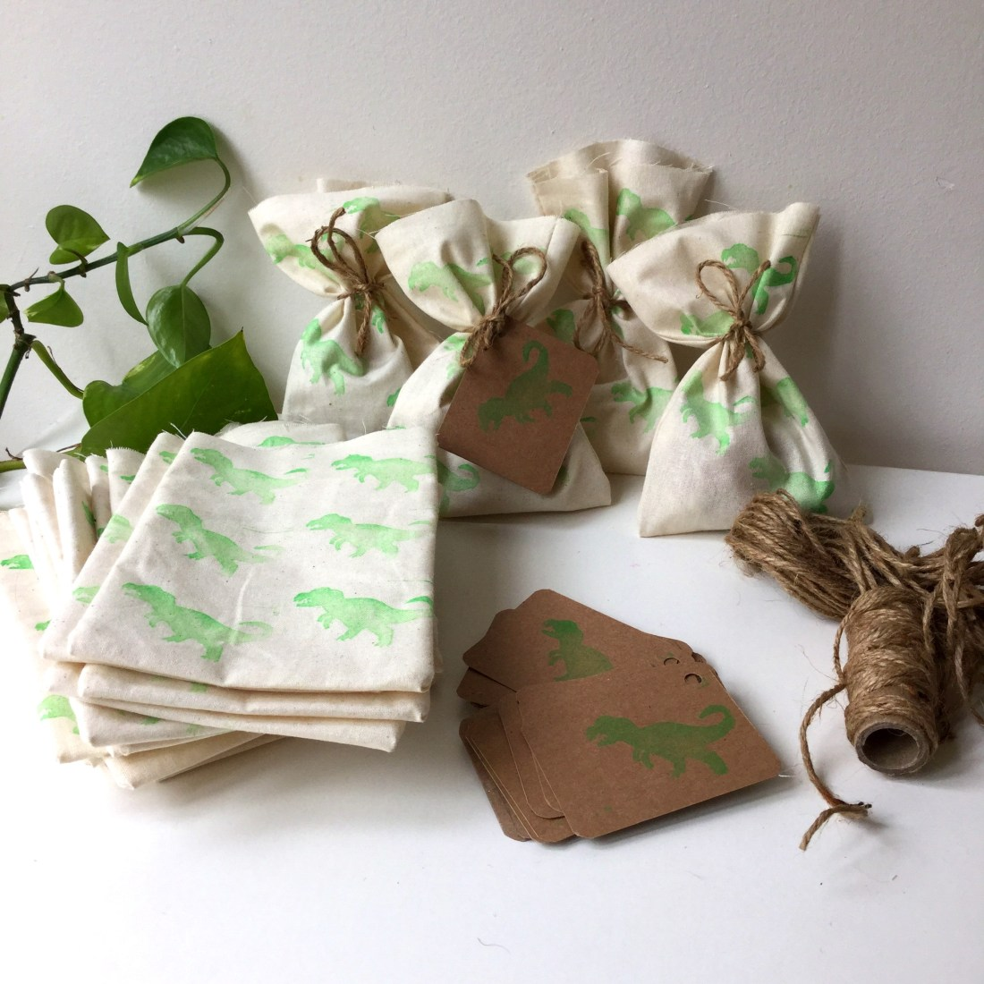 Dinosaur party favour bags
