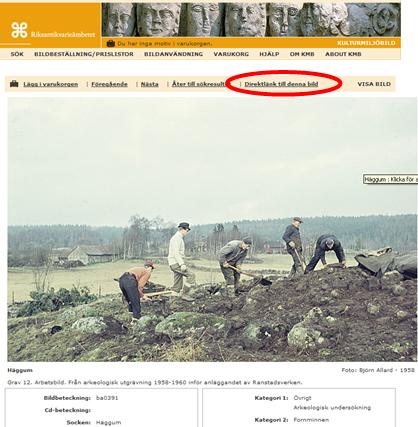Hitta en kulturmiljöbild, klicka på Direktlänk till bilden och kopiera sökvägen (URL) till sidan.