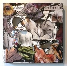 "15"" x 15"", magazine clippings, thread and acrylic paint on canvas, 2008"