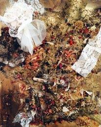 "16"" x 20"", fabric, glass, flowers, spray paint and acrylic paint on canvas, 2014"
