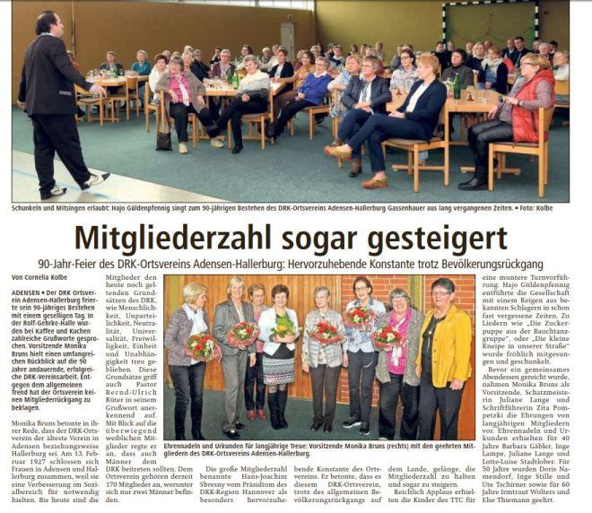Bericht der LDZ über die 90-Jahr-Feier DRK Adensen Hallerburg