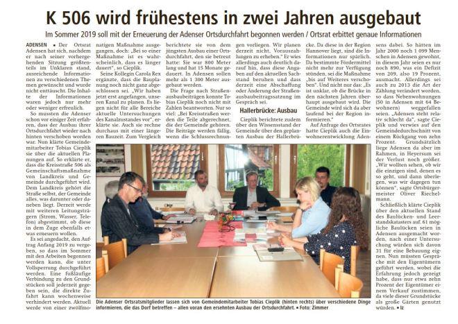 Bericht der LDZ über den Ausbau der K 506, der Einwohnerzahl und des Neubaus der Hallerbrücke