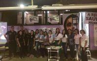 Visitantes da EXPOCRATO recebem orientações sobre Lei Maria da Penha