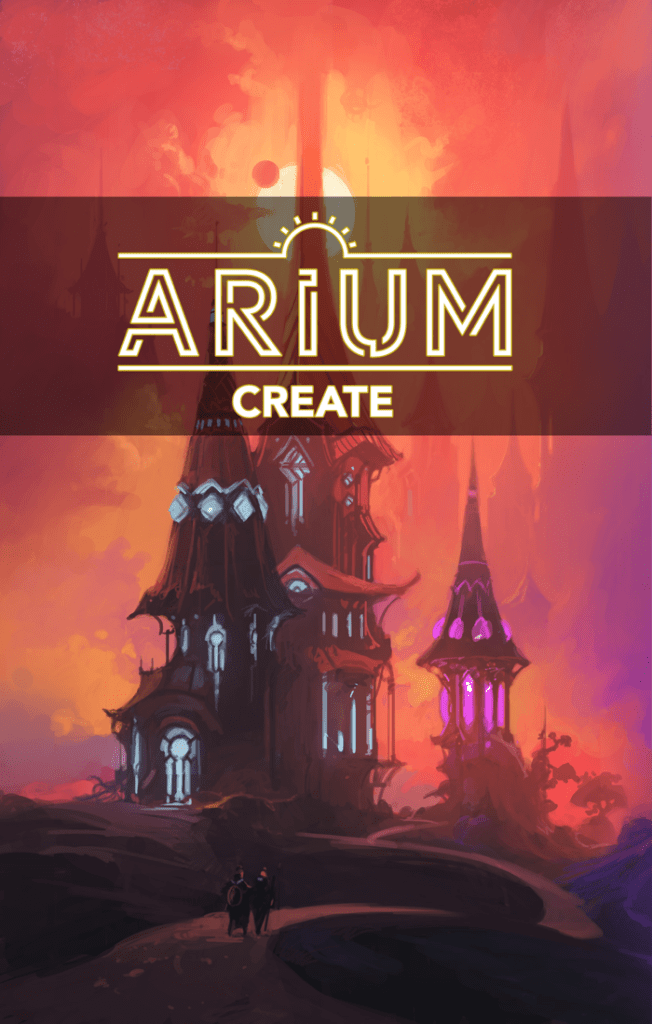 Arium: Create book cover depicting wizardly buildings with multihued lights emanating from them against the backdrop of a ruddy sky and sun.