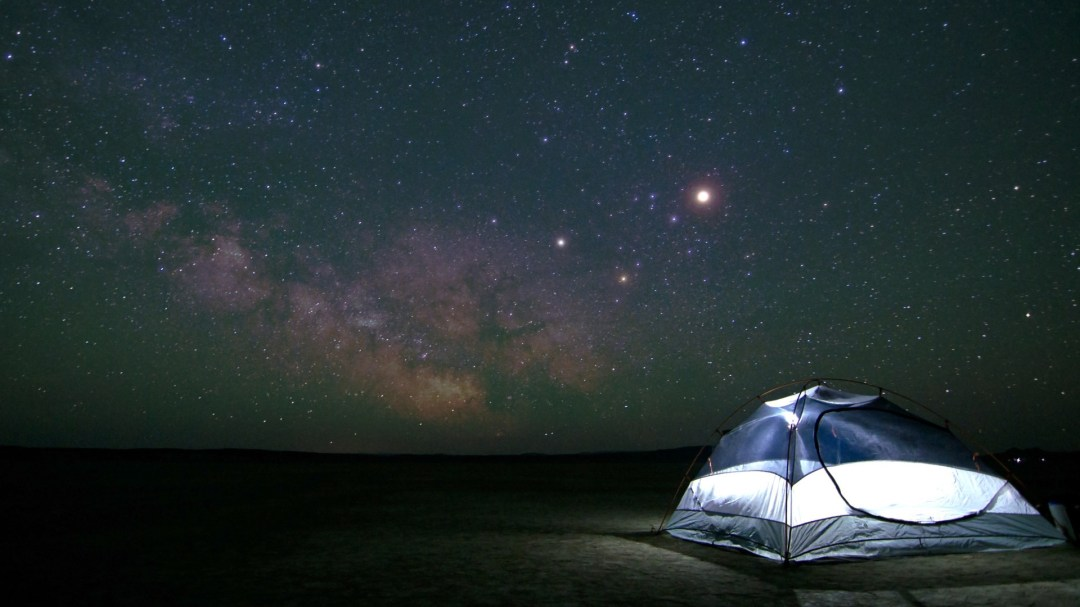 A tent under the stars