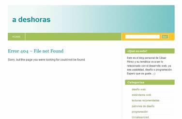 página de error 404 por defecto de wordpress