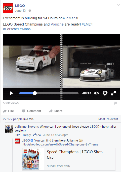 LEGO's Facebook account