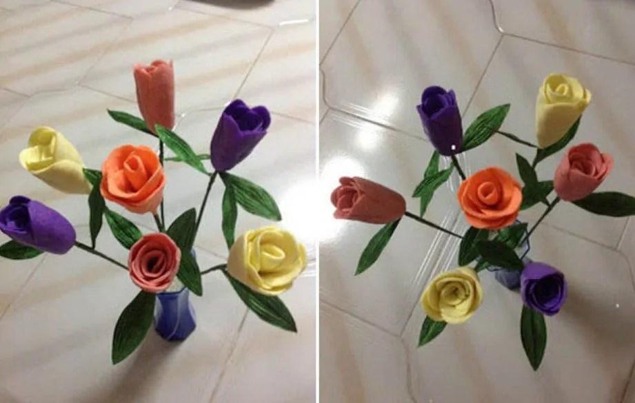 gambar bunga dari sabun mandi