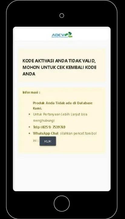 hasil validasi bahwa produk bukan buatan adev natural indonesia (palsu) via komputer