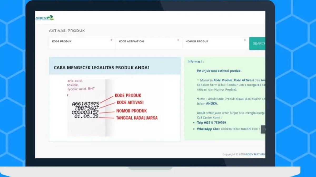 laman depan untuk cek keaslian produk adev natural indonesia via komputer