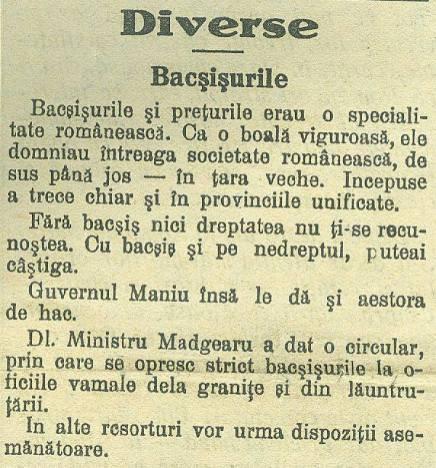 bacșișurile 1929