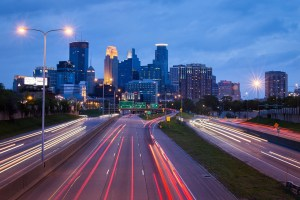Minneapolis urban night traffic cityscape