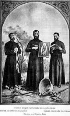 Los Santos Misioneros con la Virgen Conquistadora