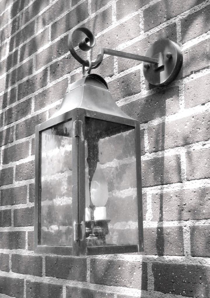 525 Cb2 Br W Sh Brass Lantern On Arm Clear Glass ADG Lighting Wallace Neff Styled